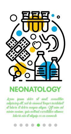 Neonatology banner. Outline illustration of neonatology vector banner for web design