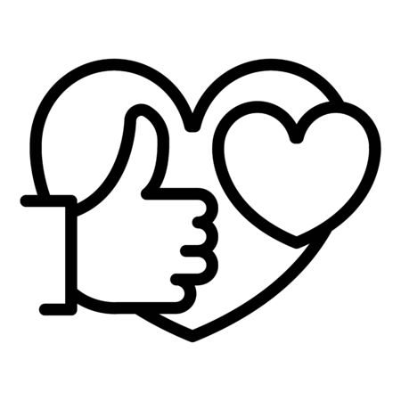 Thumb up heart icon. Outline thumb up heart vector icon for web design isolated on white background Illustration