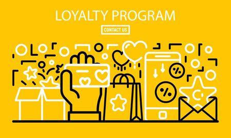 Loyalty program banner, outline style Иллюстрация