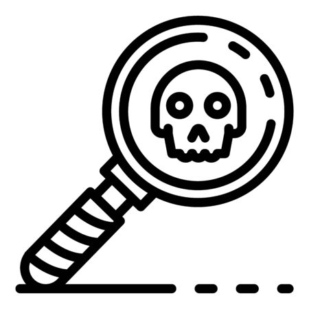 Magnify glass danger sign icon, outline style