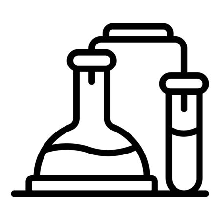 Chemical pots experiment icon. Outline chemical pots experiment vector icon for web design isolated on white background