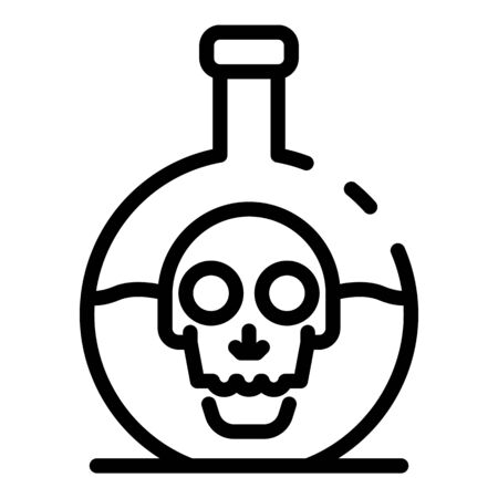 Skull chemical pot icon, outline style