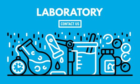 Laboratory banner, outline style