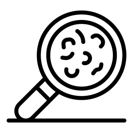 Virus under magnify glass icon, outline style