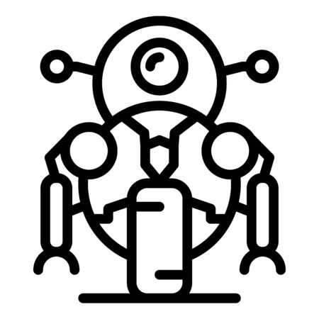 Bike robot icon, outline style
