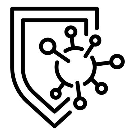 Immune shield protection icon, outline style
