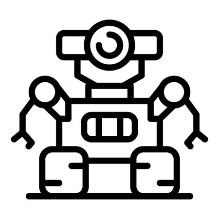 Space robot icon, outline style