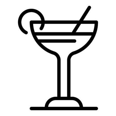 Cocktail cup icon, outline style Illustration