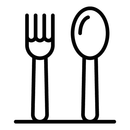 Steel fork spoon icon, outline style