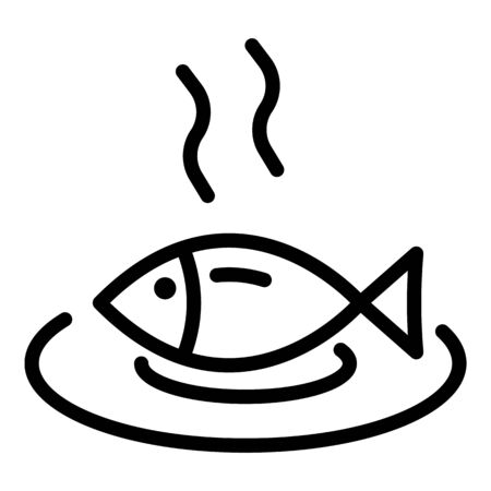Hot cooked fish icon, outline style 일러스트