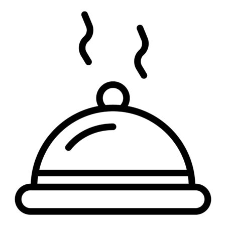 Steel food pot icon, outline style Çizim