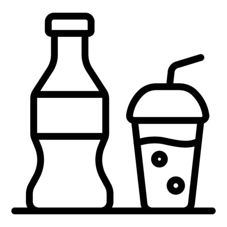 Soda bottle cup icon, outline style 일러스트