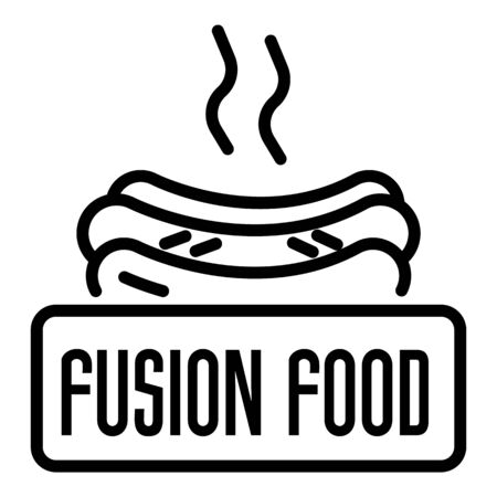 Fusion hot food logo, outline style