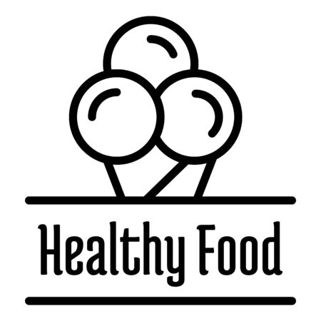 Healthy food logo, outline style Stockfoto - 131456432