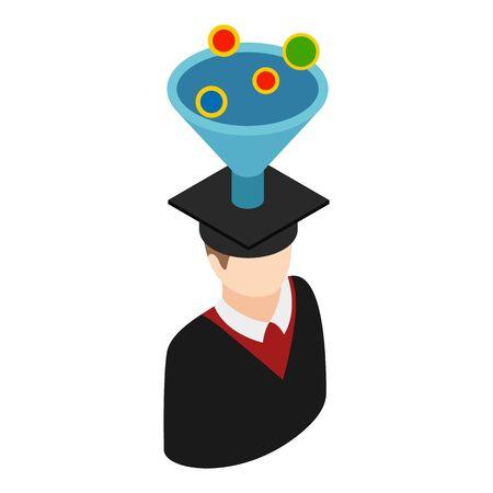 Graduate icon, isometric style 일러스트