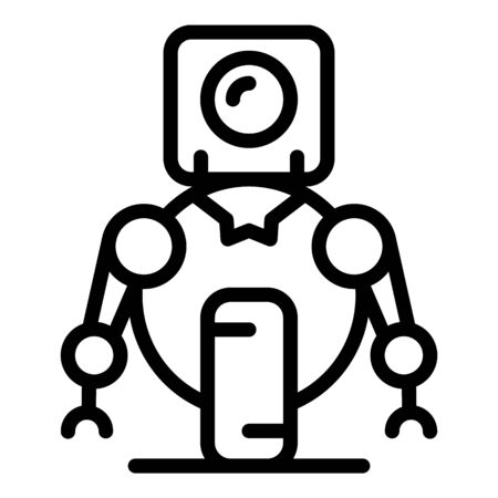 One wheel robot icon, outline style