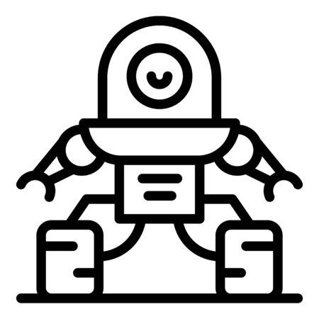 Fantasy robot icon, outline style 일러스트