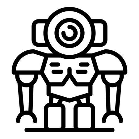 Futuristic robot icon, outline style