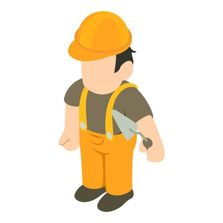 Bricklayer icon. Isometric illustration of bricklayer vector icon for web