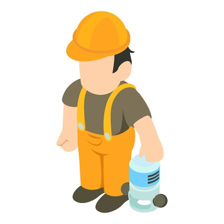 Working rammer icon. Isometric illustration of working rammer vector icon for web Vetores