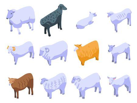 Sheep icons set, isometric style
