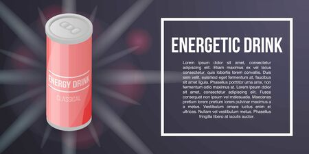 Energy drink tin concept banner. Isometric illustration of energy drink tin vector concept banner for web design