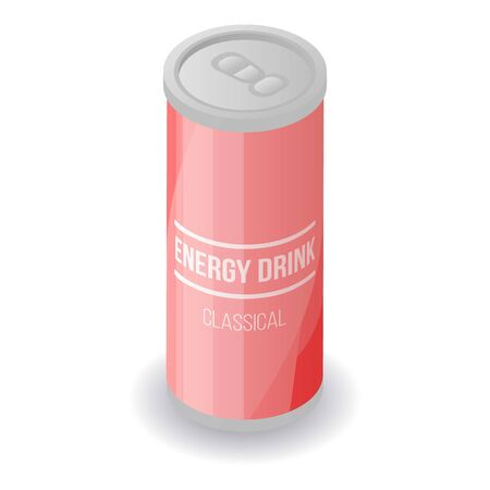 Red energy drink tin icon. Isometric of red energy drink tin vector icon for web design isolated on white background