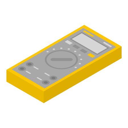 Yellow multimeter icon. Isometric of yellow multimeter vector icon for web design isolated on white background