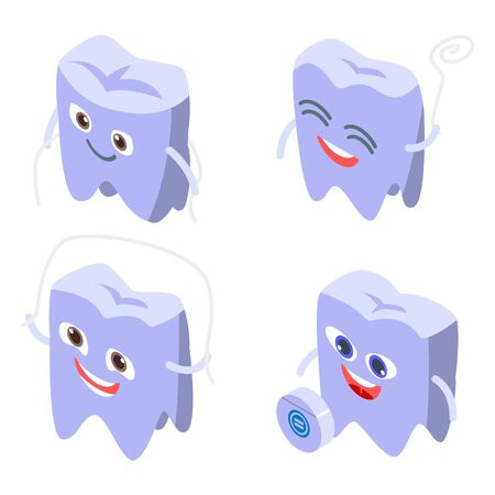 Floss icons set. Isometric set of floss vector icons for web design isolated on white background