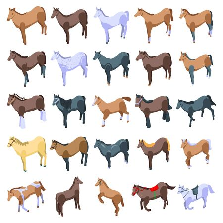 Horse icons set. Isometric set of horse vector icons for web design isolated on white background Ilustrace