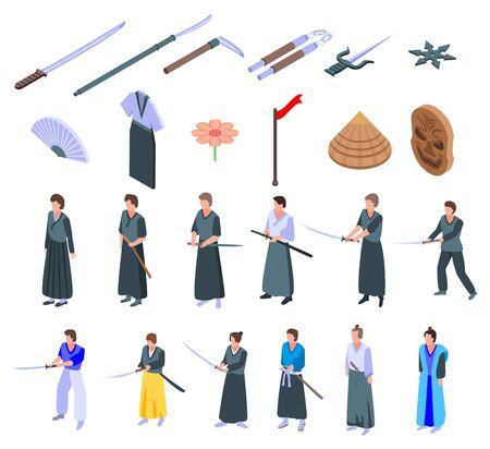Samurai icons set. Isometric set of samurai vector icons for web design isolated on white background Stock Illustratie