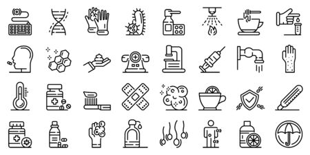 Prevention icons set, outline style