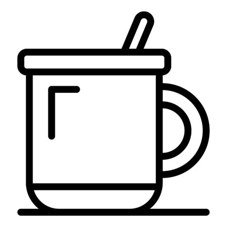 Plastic mug icon, outline style Ilustração