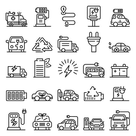 Electrical refueling icons set, outline style Çizim