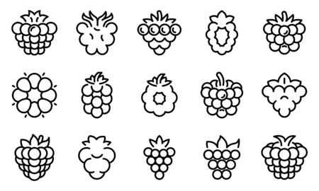 Blackberry icons set, outline style