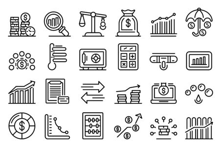 Credit score icons set, outline style