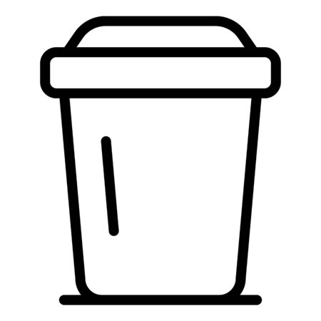 Plastic coffee cup icon. Outline plastic coffee cup vector icon for web design isolated on white background