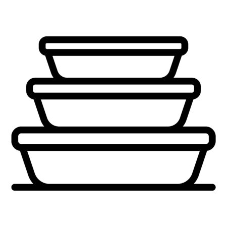 Stack food container icon. Outline stack food container vector icon for web design isolated on white background