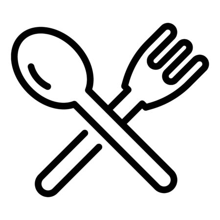 Plastic fork spoon icon. Outline plastic fork spoon vector icon for web design isolated on white background
