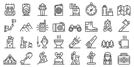 Hiking icons set. Outline set of hiking vector icons for web design isolated on white background Banco de Imagens - 131941317