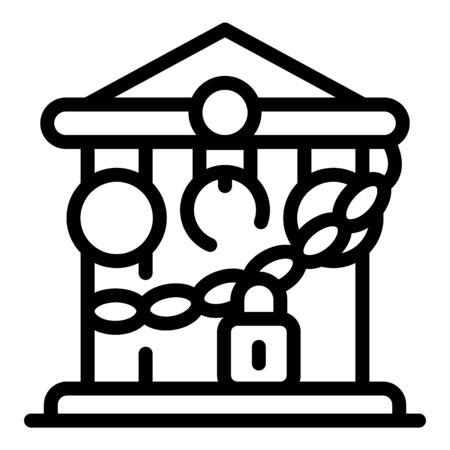 Closed bank building icon, outline style Ilustração