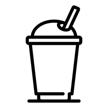 Juice plastic cup icon, outline style
