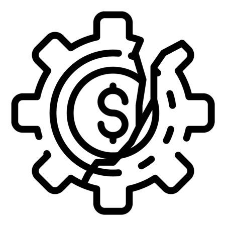 Cracked money wheel icon, outline style