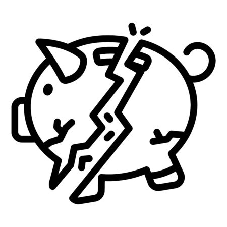 Cracked piggy bank icon, outline style Çizim