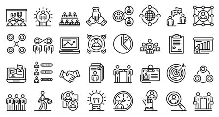 Collaboration icons set, outline style Vektoros illusztráció
