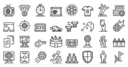 Soccer icons set. Outline set of soccer vector icons for web design isolated on white background