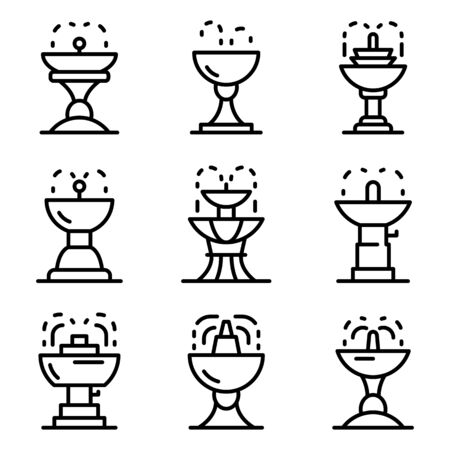 Drinking fountain icons set. Outline set of drinking fountain vector icons for web design isolated on white background