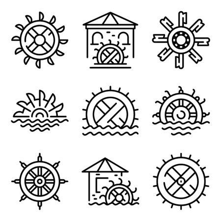 Set di icone del mulino ad acqua. Delineare l'insieme delle icone vettoriali del mulino ad acqua per il web design isolato su sfondo bianco Vettoriali