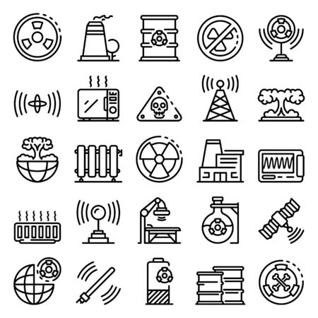 Radiation icons set. Outline set of radiation vector icons for web design isolated on white background  イラスト・ベクター素材