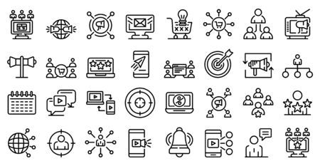 Remarketing icons set. Outline set of remarketing vector icons for web design isolated on white background Illustration